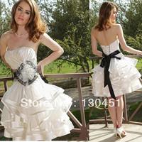 white sexy off shoulder flower bride organza knee length short ruffled mini sweetheart corset wedding dresses custom