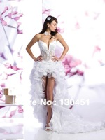 white organza backless spaghetti strap deep v neck high low sexy see through corset wedding dresses long back front short