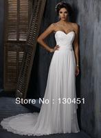 custom made ivory chiffon a-line pleated long sweetheart backless floor length wedding dresses fast shipping
