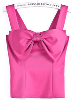Rose Red Spaghetti Strap Bow Vest 2014 Sexy Tube Tops Women's Sleeveless Bra T-shirts Club Wear 3 Colors TS-242