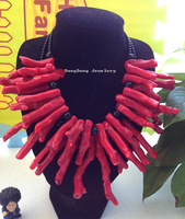 Charming! 2Strds Red Coral&Onyx Necklace free +shippment