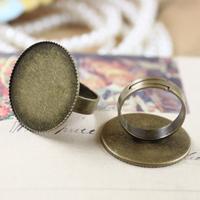 Round Edged bezel setting ring Adjustable- 30mm, Antique bronze, wholesale