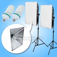 1300W (2X 150W CFL bulb) 50x70cm Folding Softbox Continuous Lighting Kit 220V 230V
