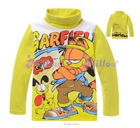 Free ship Retail 1pcs(95-140) Kids Cartoon Clothes Yellow Garfield Long-Sleeved Shirt Cotton Material Children's Sweatshirt S253
