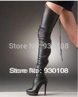 Wholesales sexy black soft leather back zipper platform boots women fashion high heels thigh high boots!