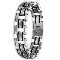 "14mm Cool Men's Jewelry Bicycle Chain Stainless Steel & Black Rubber Bracelets Bangles Link Chain Wrist Band Wristband 8.3"" Inch"