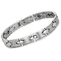 "9mm Stainless Steel Mens Link Bracelet Bio Power Balance Magnetic Therapy Bracelets Bangles Fashion Men Jewelry  8.46"" Inch 34g"