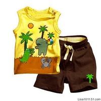 255 Retail free shipment baby boy suit coconut  tree  with  3 characters tops+pants baby clothing sets