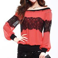 2014 Cute Plus Size Women Clothing m-4xl Off Shoulder Ruffle Trim Patchwork Crochet Lace Chiffon Tops Blouse Blusa