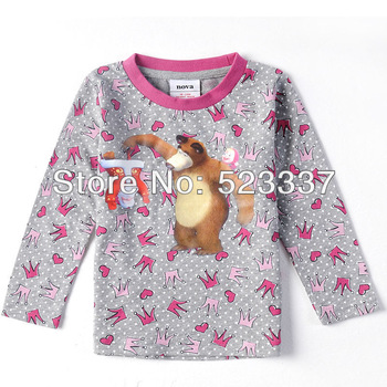 FREE SHIPPING F3172# 18m/6y NOVA kids wear cartoon clothing printed father christmas and bear girl long sleeve brand T-shirts