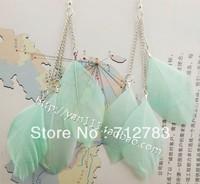 Free shipping Chromophous posey female long tassel feather earrings