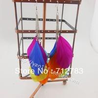 Free shipping Bohemia Design 2014 New  Long Feather Earrings Big Earrings Women Momoko Emoda Earring