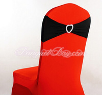 Lycra Spandex Chair Band And Heart Shape Buckle In Black Color
