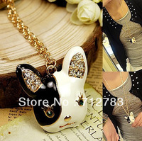 Free Shipping Fashion Clothes Accessories Fashion Black And White Oil Dog Sweater Necklace
