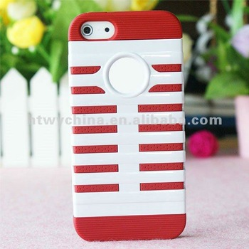 30pcs X Free shipping 2 in 1 Cell Phone Case for iPhone5 5G 5s Silicone PC Cover Case,14colors available