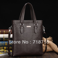 2013New fashion plaid handbag,Genuine Leather Stripe Men's Bag,Leisure Stripes Briefcase ipad bag,Men's Messenger Bag Hot Brands