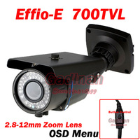 High Quality  1/3' Sony Effio /  Effio-E 700TVL Outdoor Waterproof Night Vision 2.8-12mm Lens Varifocal IR Camera With OSD Menu