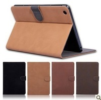 2014 New 7.9 inch Retro England Style Pure Colour High Quality Leather Case For iPad Mini With Stand Function