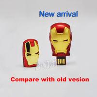 Free shipping Wholesale Iron Man 3 blue LED full capacity 2GB 4GB 8GB 16GB 32GB 2.0 Memory Stick USB Flash Drive, USB239
