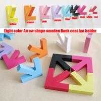 4pcs/set  2013 hot sale arrow shape wood wholesale coat hat hooks hanger wall dector 8color free shipping