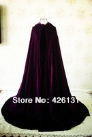 Royal purple velvet cloak plays Cloak Cape Wicca Wedding Party vinly clothing Free shipping