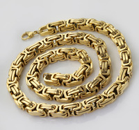Wholesale\ Retail! 60cm*8.5mm 163.5g Stainless Steel Gold Plated Byzantine Chains Neklace For Men, Lowest Price Best Quality