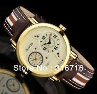 Hot sale 2013 Famous Brand JULIUS Men Wristwatch,Quartz  Double movement Personality Dail Design Leather JA-616 Free Shipping