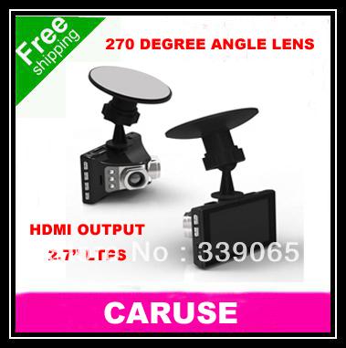 Novatek Car Black Box Dual Camera HDMI Output 2.7'' LCD 240 Degree Wide-angle Lens Free Shipping(China (Mainland))