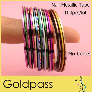 Self-adhesive Metallic Yarn Striping Tape Line Nail Art Decoration Mixed Colors 100pcs/lot ND-010