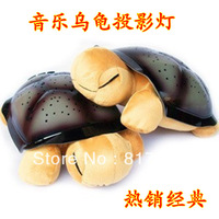 High quality music turtle lamp light sleep turtle projection lamp high quality plush  Free Shipping