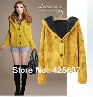 Free Shipping (6Colors) New Women's  Knitted Sweater Coat Pineapple Short Paragraph Sweater Thick Velvet