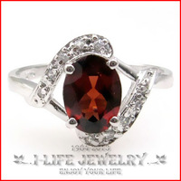 Fashion Jewelry 925 Sterling Silver Womens Natural Garnet Red Crystal Gold Plated Ring Wedding Band with Ruby Gems