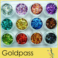 12 Pots x 3g Colorful Glitter Hexagon Paillette Decoration for Nail Art Drop shipping Retail
