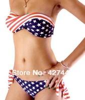 Womens Sexy 2 pcs Padded Bikini Swimwear Twisted Tube American Flag Size S M L