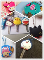 12PCS Kawaii CARTOON MIXS Rubber KEY Cover Chain Holder ; Rubber Key Pendant Hook ; Key Cap Case Key Coat (Designs MIX)