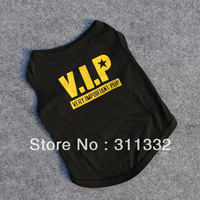 Free shipping Black dog cloth SP6005 VIP coat Pet Dogs Cats Cotton Printed Clothes T Shirt Funny Phrases