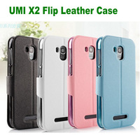 Free drop Shipping Leather Flip Case Cover for UMI X2 MTK6589 Quad Core 5.0 inch Phone + 1x free umi x2 protector