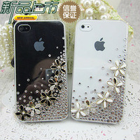 HK Free Shipping Bulk Luxury 3D babysbreath Bling Crystal Diamond flower Case Cover For iPhone 4G 4S Retail Package Accessory