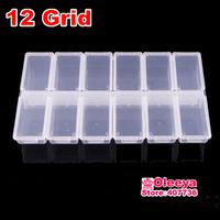 2pcs/lot 12 Grid Transparent Plastic Box Cosmetic Case Nail Art Pill Box Portable Storage Container Parts Stones Tools