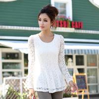 2013 autumn women's plus size slim fit long sleeve  lace shirt chiffon lace top blouse shirt blouse