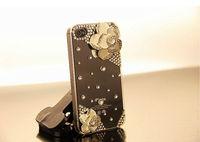 Camellia Japonica Flower Diamond Crystal Back Cover for Iphone 4 4g 4s Handicrafts Flower Bling Case