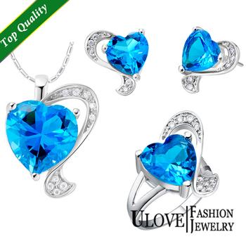 925 Sterling Silver Jewelry Set Rhinestone CZ Sapphire Blue Heart Necklace Earrings ...