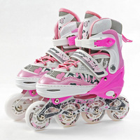 PROMOTION!LONGFENG KIDS ADJUSTABLE  INLINE SKATES PUWHEELS FLASHING WHEEL FREE SHIPPING!FEDEX