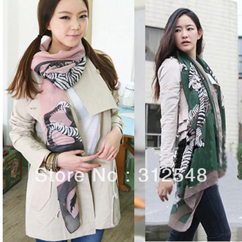 5pcs/lot Fashion Women Bohemian Casual Wraps Shawl Scarves Beach Voile Zebra Print Scarf CY0631 free & drop shipping