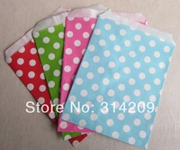 "Promotion! 5"" x 7""- Mix 4 Colors Polka Dot Treat Craft Paper Popcorn Bags, Food Safe Party Favor Paper Bag, Best Party Gift Bag"