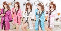 Girls Autumn Sexy Sleepwear Viscose Lacing Bathrobes Thin Summer Robe Temptation Free Shipping