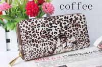 New  Fashion Woman Leopard PU Leather Women Purse Zipper Hasp Grasp Wallet Tote Handbag 4 Colors.Free Shipping