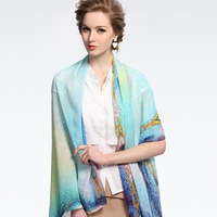 Women's long countryside style silk scarf gift of choice/Float 85*175cm