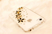 NEW Luxury 3D 5 Wildflower Bling Crystal Diamond flower Case Cover For iPhone 4g 4s Accessory