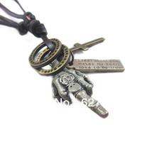 Wholesale(Min.Order $15)100% Genuine Leather 2013 Men Long Necklace Punk Vintage Leather Necklace Finger Pendant Gifts VN111